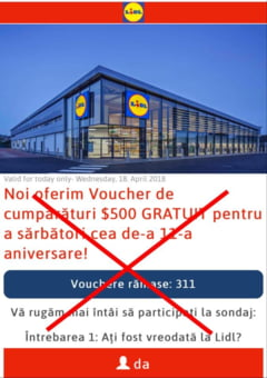 Teapa pe Facebook si WhatsApp cu vouchere false la Lidl si Carrefour