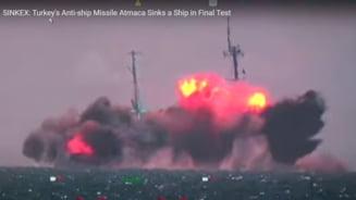 Test spectaculos pentru racheta turca anti-nava ATMACA. Turcii au scufundat in Marea Neagra o nava de lupta VIDEO