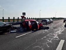 Trei masini s-au ciocnit pe Autostrada Soarelui: 4 persoane au fost ranite