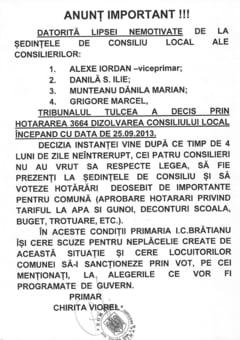 Tribunalul Tulcea a hotarat dizolvarea Consiliului Local I.C. Bratianu!
