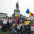 Tricolorul romanesc, fluturat la Bruxelles impotriva gazelor de sist si cianurii (Foto&Video)
