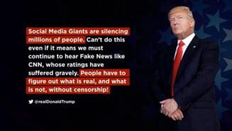 Trump acuza retelele de socializare de cenzura: Reduc la tacere milioane de oameni
