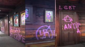 """UPDATE VIDEO Biserica de lemn din Parcul IOR a fost vandalizata cu mesaje pro LGBT. Purtatorul de cuvant BOR: """"Acte violente intretinute de o hidoasa ideologie neomarxista"""""""