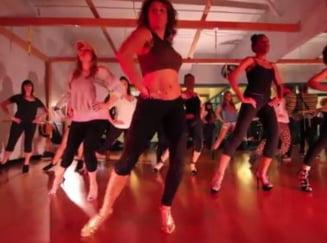 Ultimul trend in materie de fitness - pe tocuri (Video)