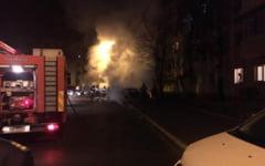 Un BMW Seria 7, facut scrum in Craiova. Politistii fac cercetari pentru distrugere prin incendiere
