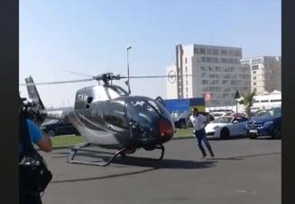 Un elicopter care a aterizat in parcarea unui club din Mamaia, aproape sa faca accident si sa raneasca trecatorii (Video) UPDATE
