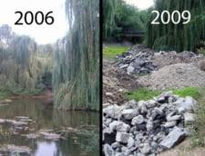 Un lac din Cluj-Napoca a fost acoperit cu moloz