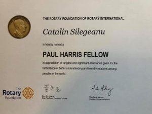 Un om de afaceri botosanean a primit o distinctie internationala din partea Rotary International