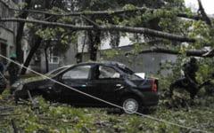 Un plop a cazut peste doua masini din Galati, dupa furtuna de azi-noapte