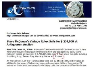 Un roman s-a batut, la o licitatie, pentru ceasurile lui Steve McQueen