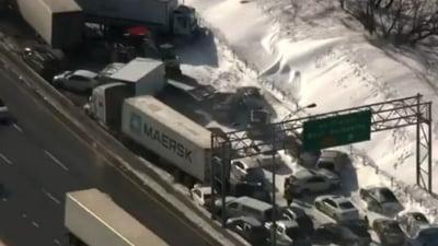 Un viscol subit a provocat un accident cu 200 de masini, langa Montreal