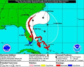 Uraganul Matthew face ravagii in apropiere de SUA: Peste 100 de morti, iar un oras a fost ras de pe harta