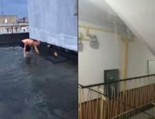 VIDEO Chinurile unui bucurestean care vrea sa desfunde scurgerea terasei inundate, intr- un bloc recent reabilitat din Sectorul 6