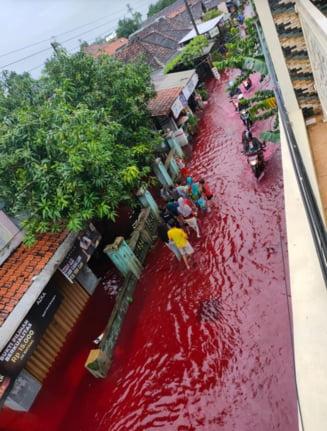 VIDEO Cum a ajuns un sat din Indonezia sa fie inundat de un rau cu aspect suprarealist, rosu ca sangele