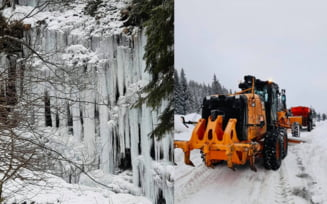 VIDEO/FOTO Mai multe drumuri au fost acoperite de zapada, in Romania. O cascada a inghetat in Hunedoara