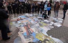 VIDEO Harta Romaniei, puzzle inchegat pe esplanada Slatinei