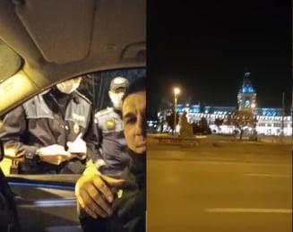 """VIDEO Interlopul Adrian Beleaua, oprit de politie noaptea, pe strazile din municipiul Iasi, aflat in scenariul rosu: """"Am iesit sa ma aerisesc putin"""""""
