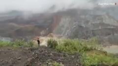 VIDEO Momentul prabusirii unei mine de jad, in Myanmar, surprins cu telefonul de un martor. 162 de oameni au murit