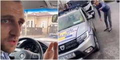 """VIDEO Sofer de Uber amenintat la Craiova. Tanarul a fugit spre o masina de Politie: """"Vor sa ma omoare, imi dau cu pumnii-n gura!"""""""