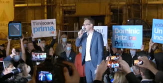 VIDEO Timisorenii au iesit in Piata Victoriei alaturi de noul primar, Dominic Fritz, pentru a sarbatori victoria