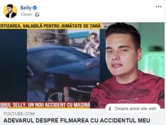 """VIDEO Vloggerul Selly se lauda ca le-a facut o farsa jurnalistilor si si-a """"fabricat"""" un accident rutier: """"Totul a fost regizat de mine"""""""