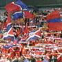 Valceni imbracati in tricourile Oltchim-ului, in tribune la meciul Serbia - Romania