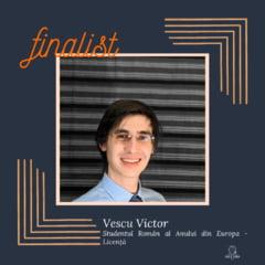 Victor Vescu, student Oxford si absolvent Laude-Reut, castigator al premiului Ligii Studentilor Romani din Strainatate pentru excelenta academica