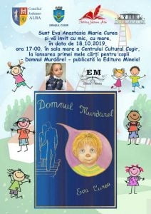 Vineri, 18 octombrie: Lansare de carte la Cugir - Micuta scriitoare Eva Anastasia Maria Curea lanseaza public prima ei carte