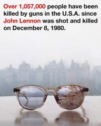Yoko Ono cere controlul armelor - poza cu ochelarii lui Lennon plini de sange, publicata