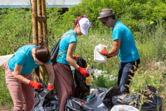Zeci de voluntari au strans 750 kg de deseuri de pe malurile Dunarii, la Giurgiu (Foto)