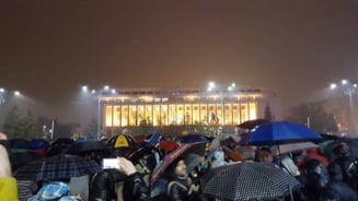 Ziua 20, protestele rezista: Oamenii au iesit din nou, in ciuda ploii, pentru a-si striga supararea in fata Guvernului