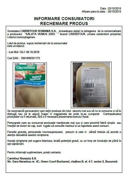 Alerta alimentara privind salata de humus de la Carrefour