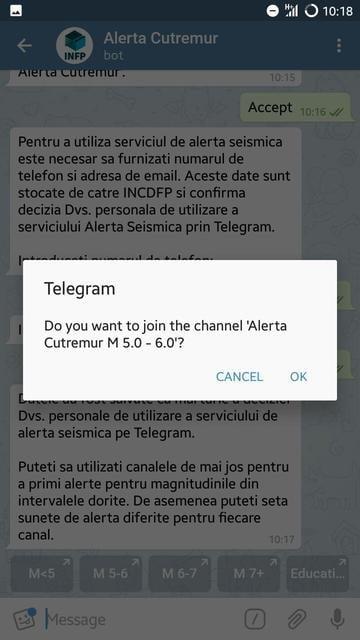 aplicatie Telegram canale magnitudine
