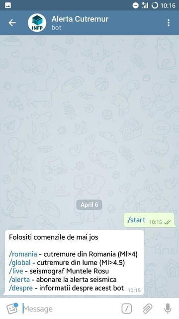 aplicatie Telegram cutremure lista comenzi