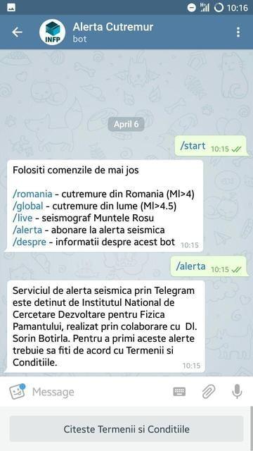 aplicatie Telegram cutremure termeni