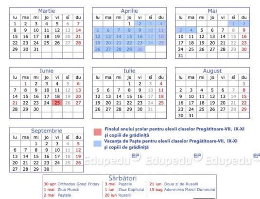 Calendar gradinita