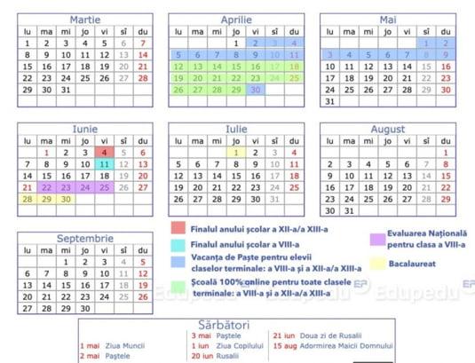 Calendar structura an scolar
