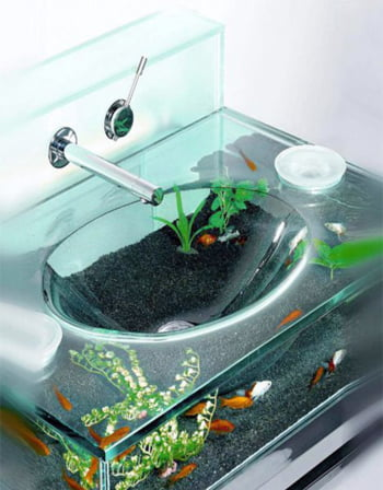 Chiuveta de baie in forma de acvariu