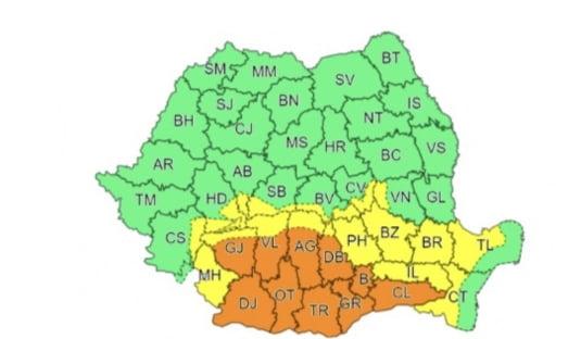 Cod portocaliu de ploi abundente in Bucuresti si in 10 judete