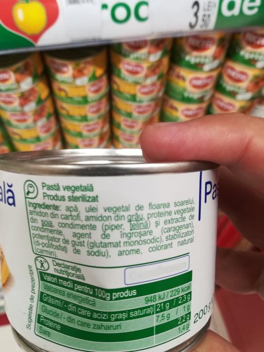 Cutie de pasta vegetal insuficient etichetata