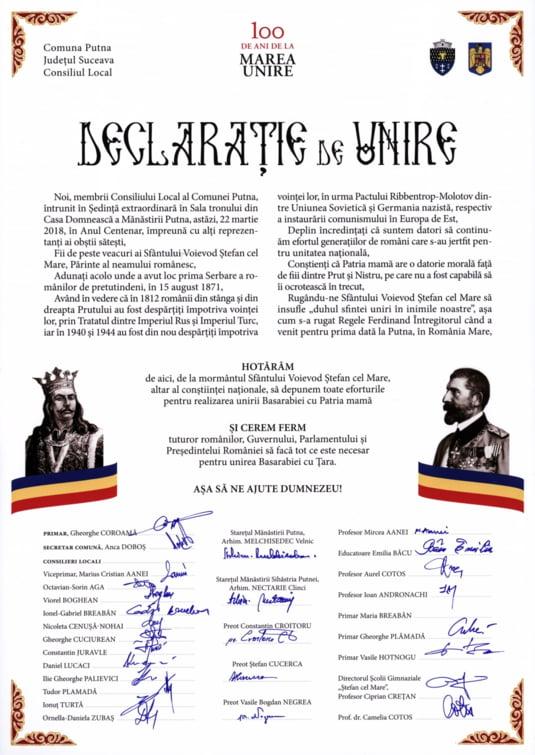 Declaratia de unire semnata la Putna
