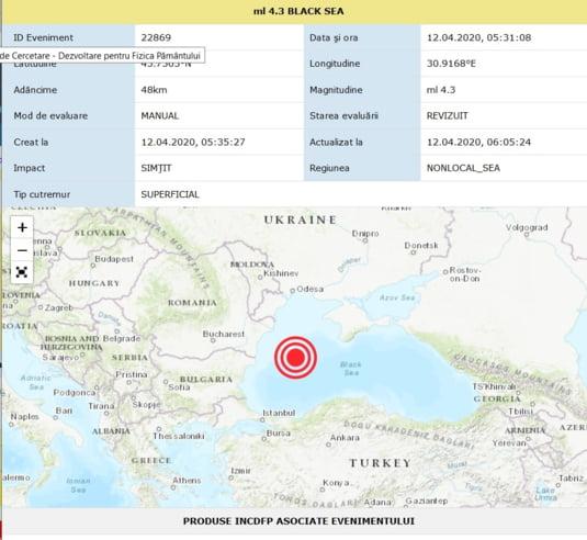 Harta cutremurului din Marea Neagra de duminica dimineata