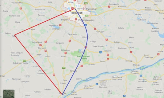 Harta traseelor feroviare Bucuresti-Giurgiu prin Videle si pe podul peste Arges de la Gradistea