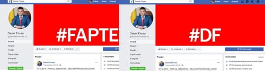 """Pagina de Facebook a primarului Daniel Florea contine cuvantul Fapte si constructia """"DF"""""""