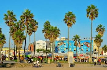 Plaja Venice Los Angeles restaurante volei soare