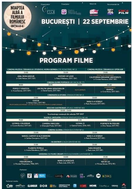 program noaptea alba a filmului romanesc 2017