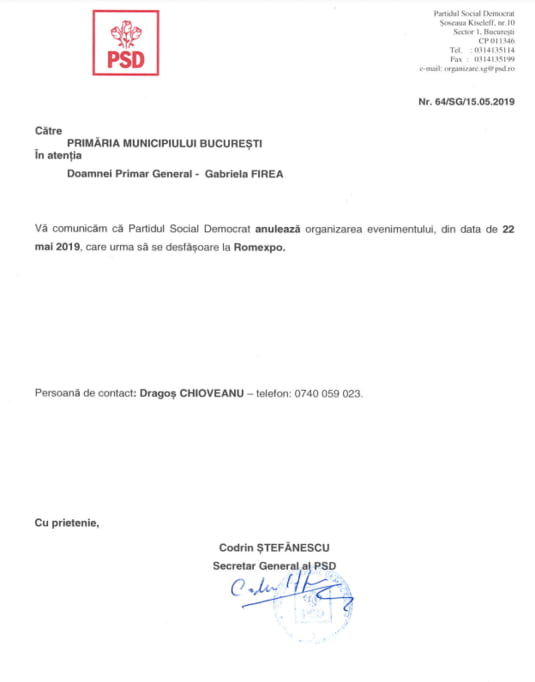 PSD anuleaza mitingul de la Romexpo
