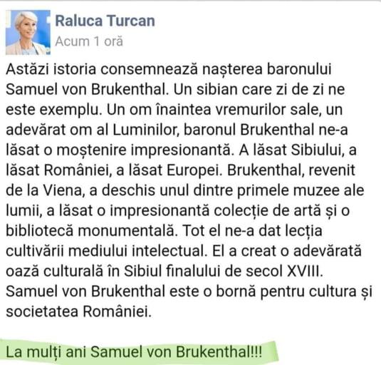 Raluca Turcan s-a grabit sa corecteze gafa de pe Facebook