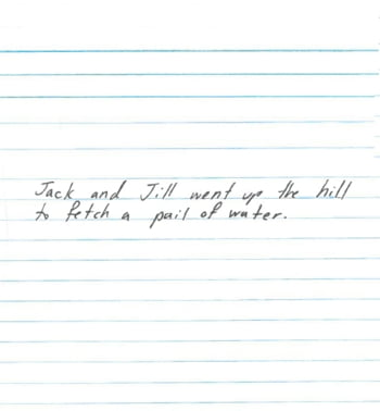 Scris spatiat de mana al unei femei