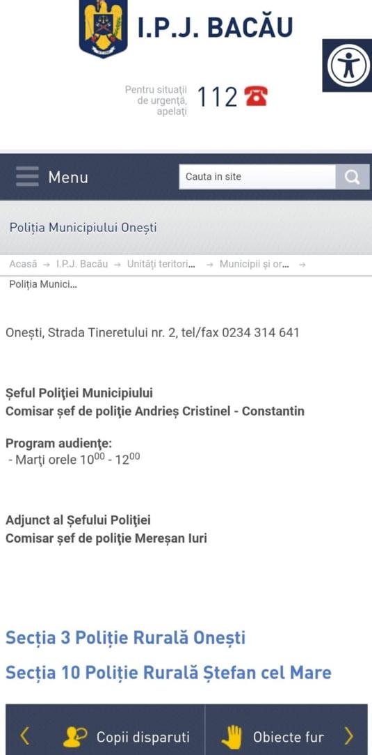 Site-ul Politiei Onesti cu sefi